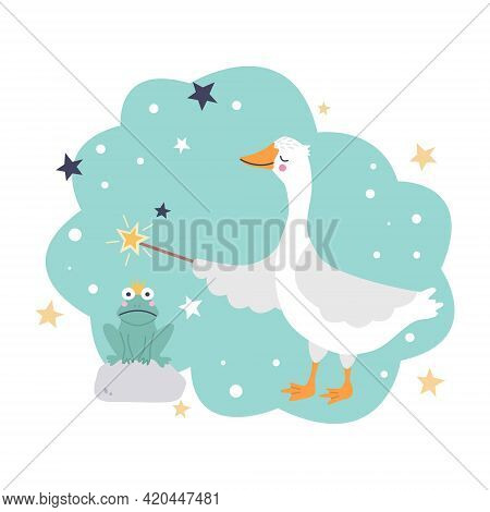 A Cute Goose With A Magic Wand Is Trying To Turn A Frog Into A Prince Charming. Fun Vector Illustrat