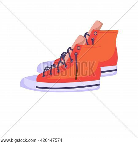 Sneakers A Mix Of Red Textile Sneakers With A Rubber Toe And Loose Laces. Hand-drawn Stamp With An O