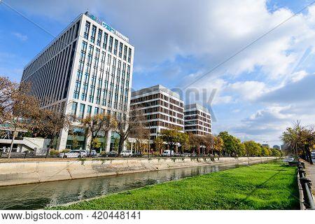 Bucharest, Romania, 7 November 2020: New Offices Buildings Near Dambovita River In Timpuri Noi (new