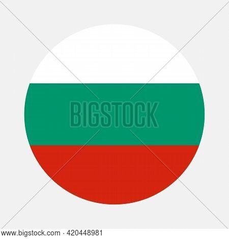 Round Flag Of Bulgaria Country. Bulgaria Flag With Button Or Badge
