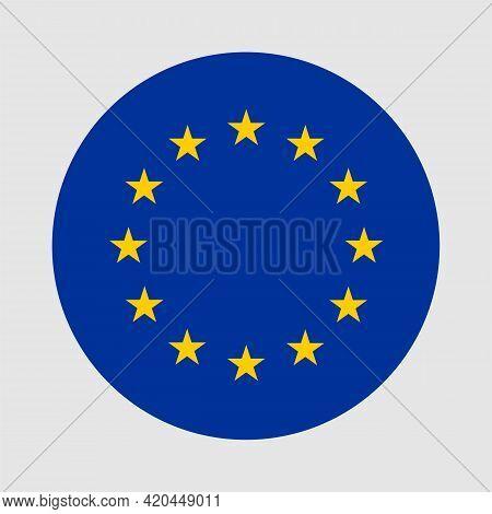 Round Flag Of European Union. European Union Flag With Button Or Badge