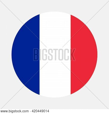 Round Flag Of France Country. France Flag With Button Or Badge