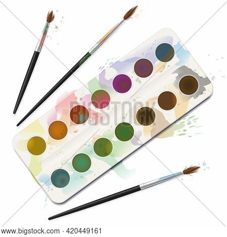 Used Watercolor Paint Box - Spotty, Blotchy, Soiled, Spilled, Dirty With Frayed Brushes. Isolated Ve