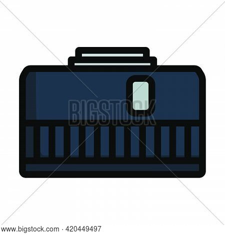 Icon Of Photo Camera 50 Mm Lens. Editable Bold Outline With Color Fill Design. Vector Illustration.