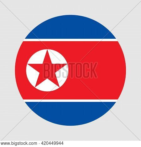 Round Flag Of North Korea Country. North Korea Flag With Button Or Badge