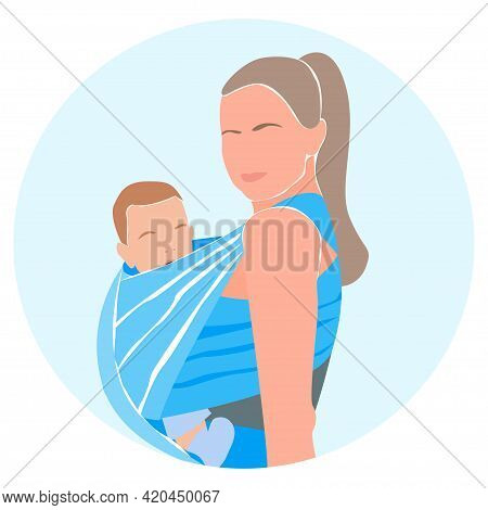 Happy Mom With Little Baby Boy In A Blue Sling. Minimalist Portrait Avatar. Love And Care Concept. V