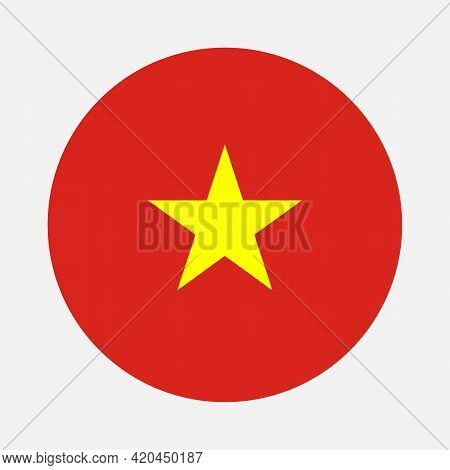 Round Flag Of Vietnam Country. Vietnam Flag With Button Or Badge