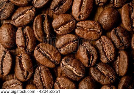 Close-up Top View Of Beautiful Aromatic Roasted Coffee Beans