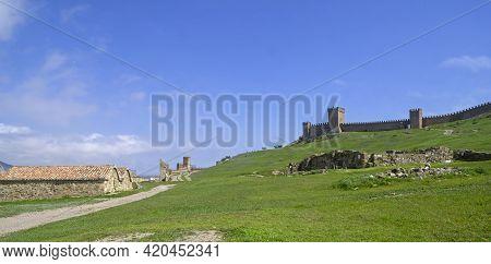 Sudak, Crimea - April 21, 2021: Genoese Fortress In Sudak, Crimea. Sunny Day, End Of April.