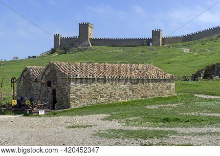 Sudak, Crimea - April 21, 2021: View Of The Citadel (consular Castle) In The Genoese Fortress  In Su