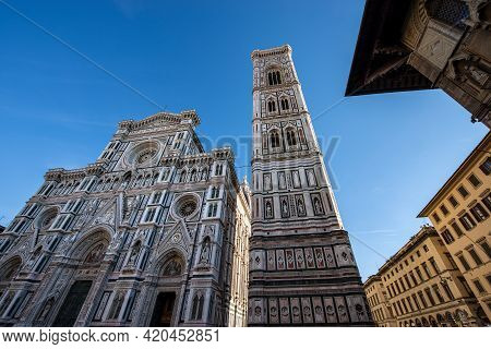 Main Facade Of The Florence Cathedral, Duomo Of Santa Maria Del Fiore And Bell Tower Of Giotto (camp