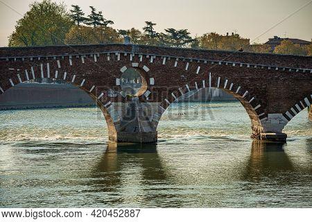 Stone Bridge (ponte Pietra) 1th Century B.c. The Oldest Roman Monument In Verona, Unesco World Herit