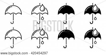 Umbrella Icons Set. Flat Linear Silhouettes Of Umbrella With And Without Drops. Vector Elements.