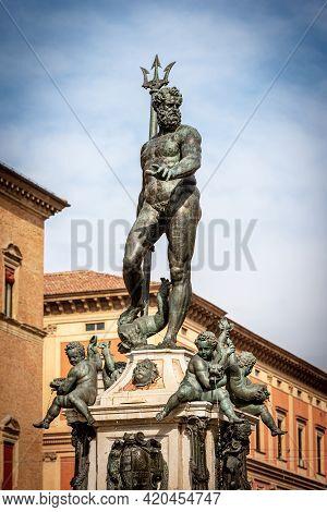 Close Up Of The Fountain Of Neptune (1566), In Piazza Del Nettuno, Bologna Downtown, Emilia-romagna,