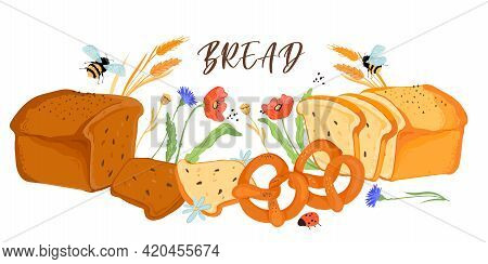 Banner Or Poster Template With Bread Production And Plants Natural Elements, Flat Vector Illustratio