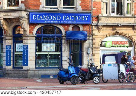 Amsterdam, Netherlands - July 7, 2017: Diamond Factory Shop Koh-i-noor In Amsterdam, Netherlands. Am