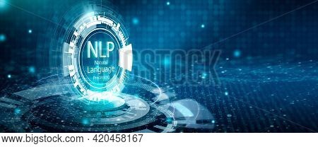 Illustration Of Virtual Screen With World Map Background. Nlp Natural Language Processing Cognitive