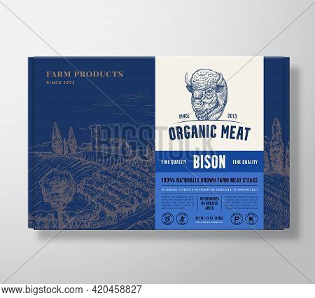 Premium Quality Bison Mock Up. Organic Vector Meat Packaging Label Design On A Cardboard Box Contain