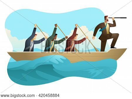 Business Concept Vector Illustration Of Businessmen Rowing A Boat On Unfriendly Water, Teamwork, Suc