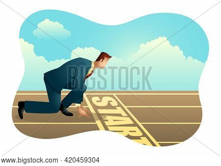 Business Vector Of A Businessman Ready To Sprint On Starting Line. Starting Career, Business Concept
