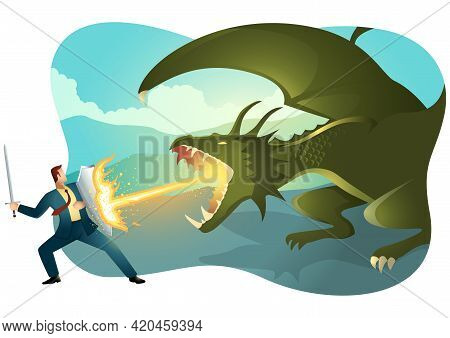 Vector Illustration Of A Businessman Fighting A Dragon. Risk, Courage, Leadership In Business Concep