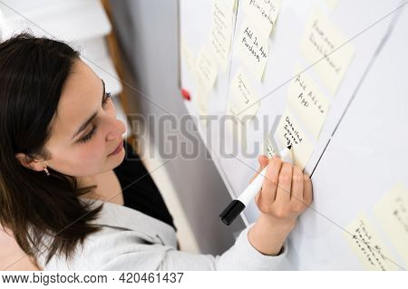 Writing Kanban Business Board On Wall In Office