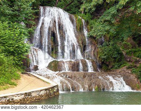 Lucansky Vodopad Waterfall In Lucky Village, Liptov Area, Slovakia