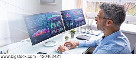 Kpi Business Analytics Data Dashboard On Monitor
