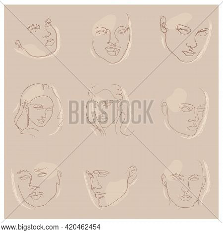 Elegant Faces Chalk Silhouette Collections. One Line Drawing Faces. Fashion Concept, Male And Female