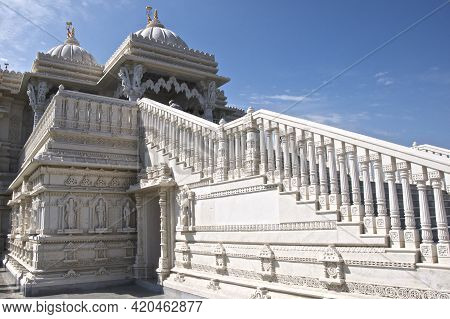 Etobicoke, Ontario / Canada - May 24, 2009: Low Angle View Of Baps Shri Swaminarayan Mandir - A Trad