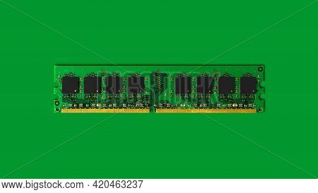 Computer Ram-random Access Memory Modules On The Green Background.