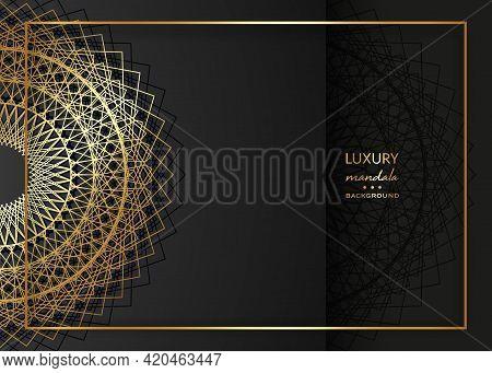 Gold Mandala Vintage Decorative Elements On Black Background, Golden Frame Art. Luxury Oriental Lace
