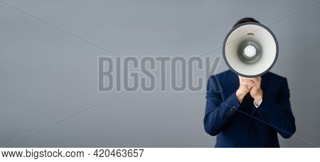 Man With Megaphone Warning Voice Announcement Concept