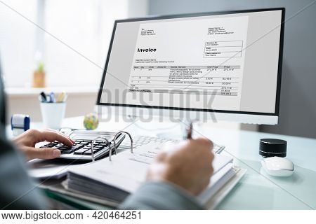 Professional Chartered Accountant Using Electronic Invoice Bill Software