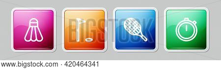 Set Line Badminton Shuttlecock, Golf Flag, Tennis Racket And Stopwatch. Colorful Square Button. Vect