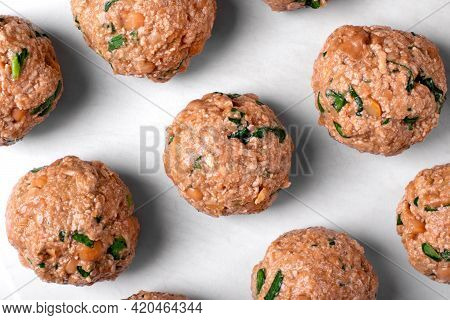 Raw Tofu Cutlets Prepared To Be Baked Or Fried. Cooking Vegan Meals. Top View