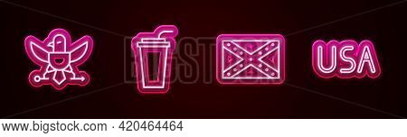 Set Line Eagle, Paper Glass With Straw, Flag Confederate And Usa Label. Glowing Neon Icon. Vector