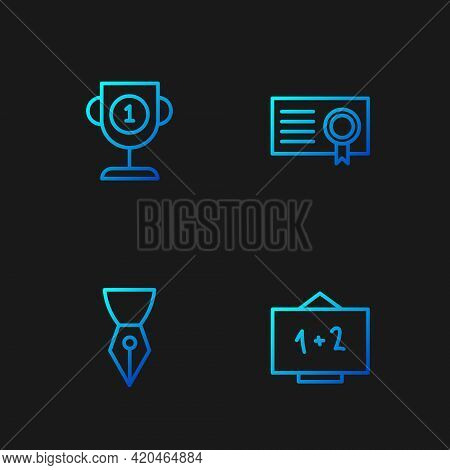 Set Line Chalkboard, Fountain Pen Nib, Award Cup And Certificate Template. Gradient Color Icons. Vec