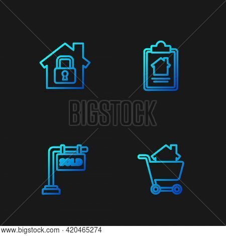 Set Line Shopping Cart With House, Hanging Sign Sold, House Under Protection And Contract. Gradient
