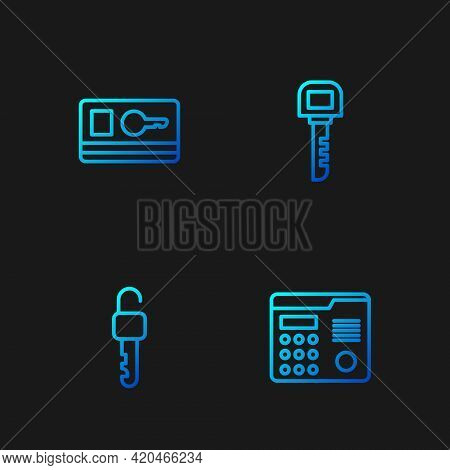 Set Line House Intercom System, Unlocked Key, Key Card And . Gradient Color Icons. Vector