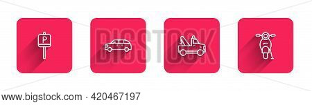 Set Line Parking, Hatchback Car, Tow Truck And Scooter With Long Shadow. Red Square Button. Vector