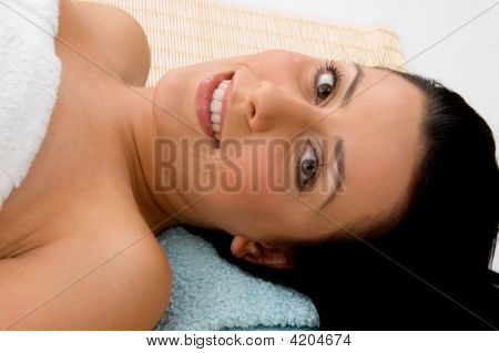 Top View Of Smiling Woman With White Background