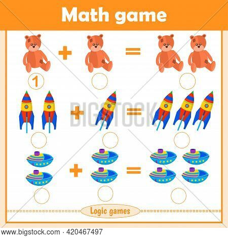 Solve Math Examples For Addition. Educational Game For Kids. Fold Toys: Bear, Rocket, Ship