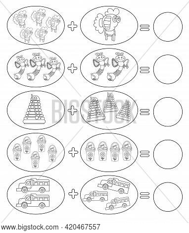 Solve Math Examples For Addition. Fold Toys. Educational Game For Kids. Coloring Page