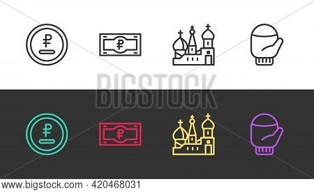 Set Line Rouble, Ruble Currency, Russian Banknote, Saint Basils Cathedral And Christmas Mitten On Bl