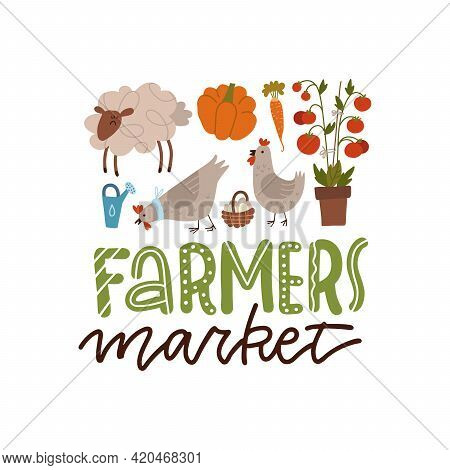 Farmer Production Set Of Tools, Vegetables And Farm Animals In Modern Vector Flat Cartoon Style. Let