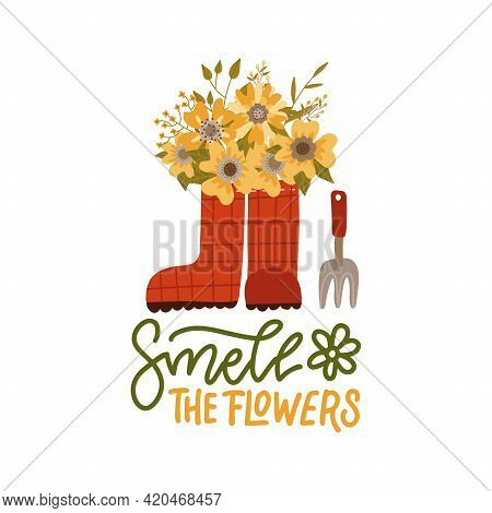 Garden Flowers In Wellies. Red Rain Boots, Gardening Tool And Florals. Modern Flat Vector Illustrati