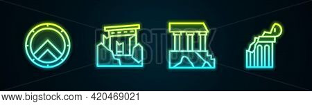 Set Line Greek Shield, Ancient Ruins, Parthenon And Broken Ancient Column. Glowing Neon Icon. Vector