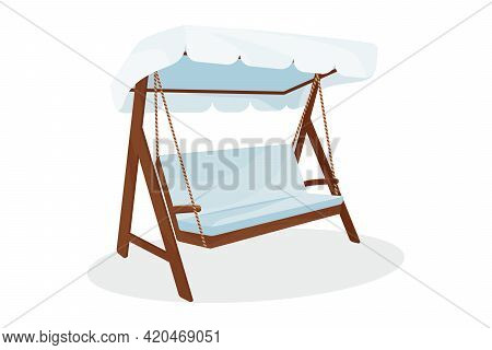 Classic Outdoor Wooden Garden Hanging On Framed Veranda Swing Bench Furniture With Ropes, Awning And