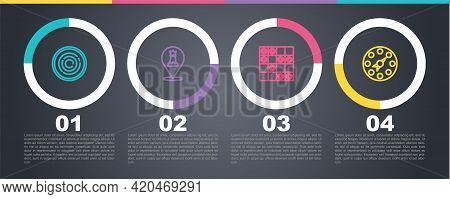 Set Line Checker Game Chips, Chess, Board Of Checkers And Twister. Business Infographic Template. Ve